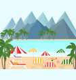 seaside with mountains background vector image
