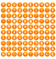 100 christmas icons set orange vector image vector image