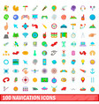 100 navigation icons set cartoon style vector image vector image