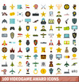 100 videogame award icons set flat style vector image vector image
