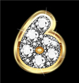 6 number gold and diamonds vector image
