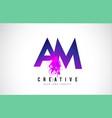 am a m purple letter logo design with liquid
