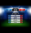 american football rugmatch scoreboard vector image
