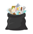 black garbage bag open sack rubbish sackful trash vector image