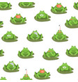 cartoon cute green frogs characters seamless vector image