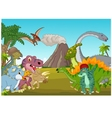 Cartoon group of dinosaur with mountain vector image vector image