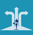 choice way businessman with crossroads and vector image vector image