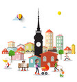 city life with tower and buildings people in town vector image vector image