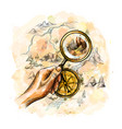 compass and magnifying glass with treasure map vector image
