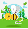 cute bee in forest vector image vector image