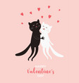 cute cats valentines day greeting card vector image vector image