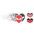 damaged dot halftone alien visitor heads icon vector image