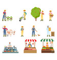 farmers working on land set vector image vector image