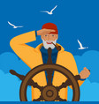 fisherman looks into distance standing at helm of vector image