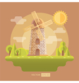 Flat with mill and garden vector image