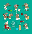 funny set coffee stickers cup coffee vector image vector image