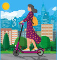 girl with backpack rolling on electric scooter vector image vector image