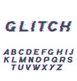 glitch font or distorted abc trendy latin typeset vector image