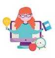 happy teachers day teacher online class computer vector image vector image