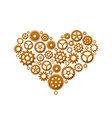 heart made of gears vector image vector image