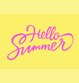 hello summer - drawn brush lettering vector image vector image