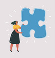 isolated woman with big puzzle on white vector image vector image