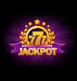 jackpot banner with purple ribbon 777 icons and vector image vector image
