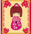 Kokeshi doll cartoon character beautiful abstract vector image vector image