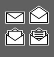 letter envelope symbols icons white outline set vector image vector image