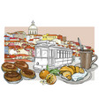 lisbon panoramic cityscape and cafeteria set vector image