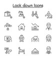 lock down icons set in thin line style vector image