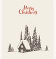 merry christmas card house forest sketch vector image