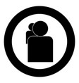 people or two avatar icon black color in circle vector image vector image