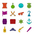 pirate icons doodle set vector image vector image