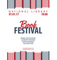 poster book festival stack of books vector image