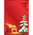 red card with new year tree vector image vector image