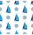 sailing boat on the waves captains wheel vector image vector image