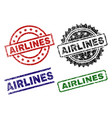 scratched textured airlines stamp seals vector image vector image