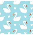 seamless swan pattern white swans on blue vector image vector image