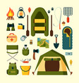 set equipment for camping tourism vector image vector image