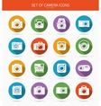 Set of photo or camera icons with long shadows vector image