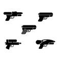 set of water gun icons in silhouette style vector image