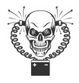 smilling skull and car battery vector image vector image