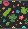 summer pattern palm leaves and tropical flowers vector image