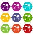two wine glasses icon set color hexahedron vector image