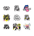 typography colorful slogan girl power text vector image vector image