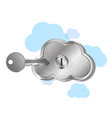virtual cloud with lock vector image vector image