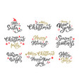 winter season greetings black ink inscriptions set vector image