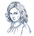 art drawing portrait of gorgeous romantic girl vector image vector image