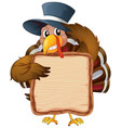 board template with cute turkey on white vector image vector image